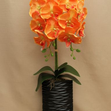 Orange Artificial Orchid in Vase