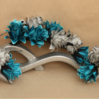 Artificial Teal and Silver Flowers in Silver Glitter Ceramic Vases